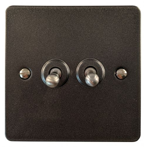 G&H FP282 Flat Plate Pewter 2 Gang 1 or 2 Way Toggle Light Switch